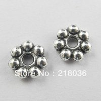 Wholesale Antiqued Silver 8mm - Wholesale Vintage 1000Pcs Antiqued Silver Daisy Spacer Beads Charm For DIY Jewelry Handcraft Accessories Bracelets Girls Bijoux 8mm B615