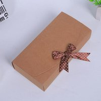 Barato Caixas Grossas De Fitas-23 * 11.5 * 5cm Rectangle Kraft Paper Ribbon Gift Box para cachecol Purse Aniversário Wedding Favor Atacado ZA5134