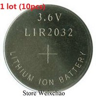 Wholesale Rechargeable Lithium Button Battery - LIR2032 3.6V rechargeable button cell battery replace CR2032 button cell battery 1 lot (10pcs) Free Shipping