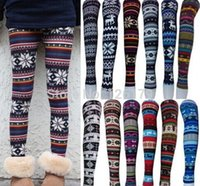 Wholesale Deer Snowflake Leggings - 50pc Snowflake Christmas deer Leggings Graffiti Printed Leggings cashmere knit cotton leggings spring