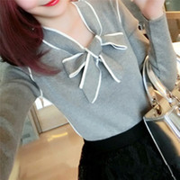 Wholesale Cute Collared Shirts For Girls - Wholesale- women's sweaters knitted jumper with butterfly collar long sleeve outwear fashion cute shirt for girls spring autumn 71221