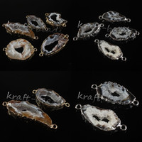 Wholesale crystal geode pendant - Wholesale 10 Pcs Silver Gold Plated Natural Durzy Agate Geode Crystal Stone Random Shape Pendant Connector Jewelry Fit Bracelet makeing