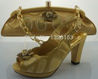 Wholesale Italian Gold Set - Wholesale-Free shipping New arrival african shoes and matching bag set with rhineston italian ladies high heels pumps GOLD Size 38-42