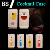 """Wholesale Mugs Iphone - Phone Case for iPhone 6s 4.7"""" Plus 5.5"""" 5s Liquid Quicksand Red Wine Cocktail Glass Beer Mug Bottle Transparent Back Cover"""