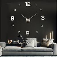 horloge acrylique d'expédition gratuite achat en gros de-2017 Spécial Grand Diy Quartz 3D Horloge Murale Salon Grand Acrylique Montre Miroir Autocollants Design Moderne Décor À La Maison Livraison Gratuite