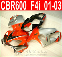 Wholesale Low Priced Cbr Fairings - Lowest price red silver bodykits Style for Honda CBR600 F4i fairing kit CBR F4i cbr600f4i 2001 2002 2003 fairings RJOX