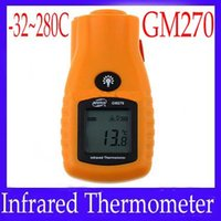 Wholesale Mini Laser Thermometers - Mini Non-Contact LCD IR Laser Infrared Digital Temperature Thermometer Gun Point GM270 moq=1 free shipping