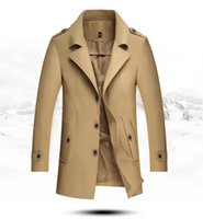Wholesale Men England Coat - Winter Autumn Men's Trench Coats European Style Men's Long Coat Casual Windbreaker Size M-4XL