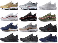 Wholesale Drop Shipping Bullet - Drop Shipping 2017 Newest 97 OG Bullet Men Women Casual Air Cushion Undefeated Leather Silver Metallic Gold Black Walking Hiking Shoes 36-46