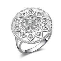 Wholesale Silver Rings Genuine Stones - Free Shipping New 925 Sterling Silver fashion jewelry flower Genuine Austrian crystal diamond ring hot sell girl gift 1730