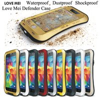 Wholesale Love Mei Powerful - LOVE MEI Defender Cover For iPhone6 iPhone 6 Plus 4S 5S 5C Powerful Shockproof Waterproof Metal Armor Case Heavy Duty Case DHL 10pcs