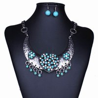 Wholesale Turquoise Jewelry Sold - Hot Sell Women Jewelry Cute Earrings Choker Pendent Necklace Party Wedding Gift TL9613*1