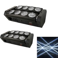 Wholesale-2pcs / lot 8x10W LED blanco Beam Moving Light Araña Jefe de luz LED para Dj Efecto luces de discoteca Luz
