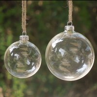 Wholesale Hanging Glass Christmas Ornaments - Christmas Tree Glass Balls Ornament Christmas Decoration 80mm clear balls Xmas party supplies hanging Baubles Balls