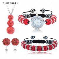 Wholesale Disco Ball Watch Sets - Wholesale-Shamballa Set Bracelet Pendant Necklace Watch Earrings Shamballa Sets With 10mm Crystal Disco Balls Mix Colors Options SLSTCmix2
