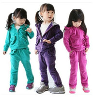 Wholesale Children Velour Pant Suits - 2015 New Autumn Girls Clothing Sets Kids Velvet Sports Suit Baby Children Velour Twinset Long Sleeve Sweatshirt Pants