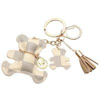 Key Chain Accessories Tassel Key Ring PU Кожаный медведь Шаблон автомобиля Keychain Jewelry Bag Charm
