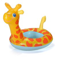 Wholesale Inflatable Chairs For Children - NEW Arrival Portable Giraffe Shape Baby Child Inflatable Water Swimming Pool Raft Chair Seat Float Ring For Kids Flexib order<$18no track