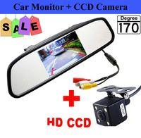 rear vision mirror camera بالجملة-HD فيديو وقوف السيارات مراقب ، 4.3 بوصة سيارة مرآة الرؤية الخلفية مراقب مع الصمام للرؤية الليلية عكس كاميرا الرؤية الخلفية سيارة CCD