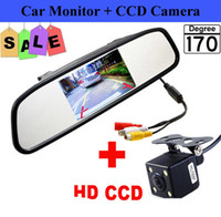 HD Video Auto Parking Monitor, 4.3 pouces Car Rearview Mirror Monitor avec LED Night Vision Inverser CCD Car Rear Camera
