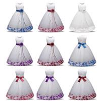 Wholesale Girls Formal Wear Wholesale - Flower Girl Dress Summer Clothes Girl 2018 Baby Wedding Veil Dresses Kids's Party Wear Costume For Girl Children Clothing