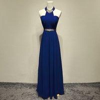 vestidos de novia halter rhinestone al por mayor-Impresionante diseño único para mujer Sexy Halter Rhinestone color azul dama de honor larga moda para mujer primavera vestidos de boda