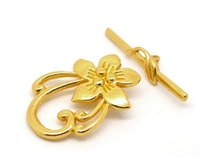 Wholesale Flower Nose Rings - 10 Sets Gold Tone Flower Toggle Clasps 20x30mm 4z1535