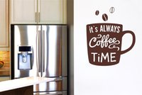Wholesale Self Adhesive Wall Time - Vinyl Wall Sticker Quote Wall Decal Its Always Coffee Time Mural for Kitchen or Office