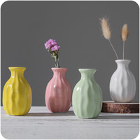Wholesale Textured Artwork - European Style Ceramics Vases Mini Plant Hydroponic Bottle Textured Dried Flower Decor Bottle Artwork Display Accessories 4 Colors