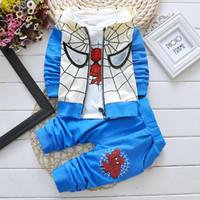 Wholesale Winter Hoodies For Men Wholesale - Children clothes boys cartoon Spider-Man uit set 100% cotton hoodies+T-shirt+pants 3 pieces set 4 color for 1~5 years old children 4s l