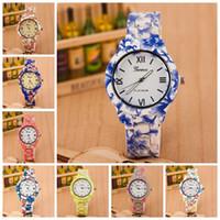 ginebra relojes florales al por mayor-2015 nueva moda floral flor GENEVA reloj jardín belleza pulsera reloj mujer vestido relojes relojes de pulsera de cuarzo