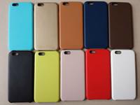 copia original del iphone al por mayor-Cubierta suave delgada ultrafina de la PU del cuero duro trasero de la copia original para el iPhone 6 6S iPhone6 más