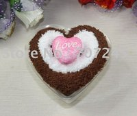 Wholesale Towel Cake Heart Shape - Hot sell!!Heart shape cake towels with decoration washcloth Wholesale creative wedding gift+free shipping order<$15 no tracking