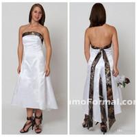 Wholesale Cheap High Low Dresses Online - Simple White A-Line Camo Wedding Dresses High Low Cheap Natural Slim Hi-Lo Bridal Gowns Custom Online Vestidos De Novia Spring Summer 2015