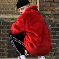 Wholesale fur bomber jacket - 17FW SP Faux Fur Bomber Jacket Fur Letter Coats Couple Fashion Black Red Artificial Fur Warm Outerwear S~XL HFJK008