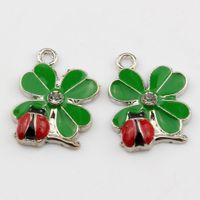 Wholesale diy online - Hot Green Enamel Lucky Grass With Ladybug Charm Pendant DIY Jewelry X MM