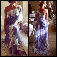 Wholesale indian chiffon evening gowns - Abendkleid vestido de noiva 2017 Saree Evening Dresses 2018 Indian Chiffon Applique Abendkleider One Shoulder Prom Party Gowns New Arrival