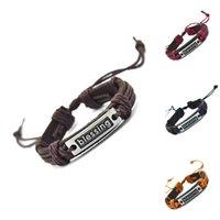 segen armbänder frauen großhandel-Großhandels-Segnung-echtes Leder-Charme-Armband-Stulpe-umsponnenes Verpackungs-Armband-Armband-Mode für Frauen-Mann-Geschenke