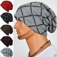 Wholesale Wholesale Mens Winter Beanies - Mens Slouchy Beanies Knit Cap Gridding Skull Winter Bonnet Hat 10pcs lot Free Shipping