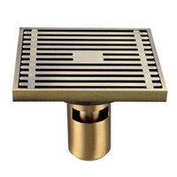 Wholesale brass drain strainer - Brass Square Shower Floor Drain with Removable Strainer,4*4""