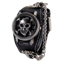Wholesale Watch Woman Leather Skull - Attractive Stylish Black Punk Rock Chain Skull Watches Women Men Bracelet Cuff Gothic Wrist Watches Fashion Hot SP14
