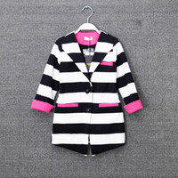 Wholesale Korean Kids Long Jackets - Wholesale new 2015 girls Outwear korean leisure style cotton stripe kids business suit 7 points sleeve Long coat 5pcs lot 5-12age ab240
