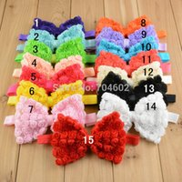 "Wholesale Order Boutique Bows - Trail Order 10pcs lot 4.7"" big Chiffon rose flower hair bows girls boutique headband free shipping"