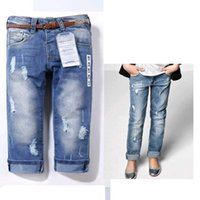 Wholesale Overall Jeans For Kids - New Arrival Jeans Kids girls Jeans for Children Overall Fashion Brand High quality Blue girls Destroyed jeans Free with belt