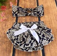 Wholesale Damask Satin - Navy White Damask Baby Diaper Cover ,Ruffle Damask Baby girls Bloomer match headband ,Damask bloomer With satin bow