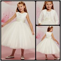 Wholesale Cute Jackets For Kids - Beautiful 2016 White Tea Length Flower Girl Dresses For Weddings Cute Jewel Neck Ball Gown Beaded Kids Pageant Dresses Gown With Jacket