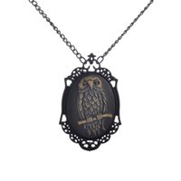 Wholesale Necklaces For Pictures - Black Glitter Alloy Owl in Picture Frame Pendant with Buttercup and Metallic Hues Painted Background Punk Necklace for Women
