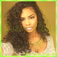 frente de encaje virgen reinas al por mayor-6A Nuevo Glueless Lace Wig Grace Virginian Brazilian Full Lace Wig Long Queen 100% Virgin Hair Front Lace Wig para señora Envío gratis