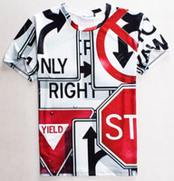 Wholesale Traffic Sign Printing - [Mikeal] New Fashion Men women 3d t shirt funny print Traffic Signs casual t-shirt good quality Tshirt tops 1803
