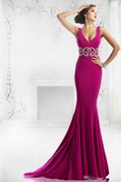 Wholesale Sequin Drape Dress - Vestido 2015 Mermaid Evening Dresses V Neck Sequins Beading Draped Backless Grape Red special occasion dresses for women